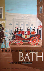 Vintage Bridgerton Bath Uk Travel  Print framed canvas 80cm x 40cm