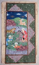 Indo-Persische Malerei Berittene Jagd auf Tiger  2. Hälfte 19. Jahrhund. Gouache