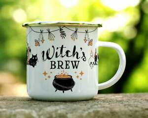 Witch's Brew Enamel Camping Mug Outdoor Camping Picnic Tea Coffee Mug 12oz