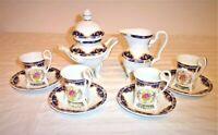 11 PC GNA Porcelain Demitasse Tea Set Footed Demitasse 4 Cups BLUE/Gold Roses