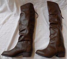 Mudd Highland Brown Fx Leather Women Over Knee High Block Heel Boot Shoe 6 $100