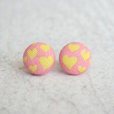 Pink and Yellow Hearts Fabric Button Earrings