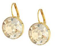 New Authentic SWAROVSKI Brand Gold Brown Crystal Bella Pierced Earrings 901640