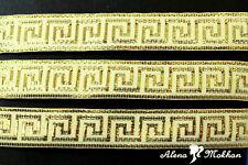 "5 yards 7/8""  Gold Greek Key On Ivory Background Woven Grosgrain Ribbon"
