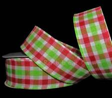 """10 Yards Christmas Red Grinch Green White Gingham Plaid Wired Ribbon 1 1/2""""W"""