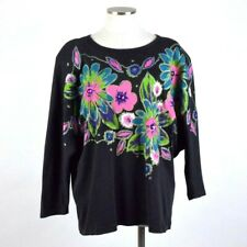 Vtg 90s Glitter Floral Painted Sweatshirt Top Boxy Oversized Shirt Womens M to L