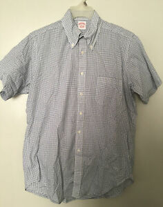 Brooks Brothers Milano Blue White Plaid Checkered Button Up Down shirt Sz 15.5