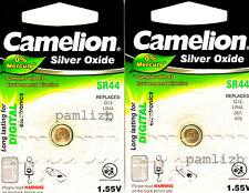 SR44 Silver Oxide 1.55V battery Camelion  G13 AG13 LR44 367 A76 SR1154 SG13  x 2