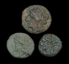 Lot of 3 Ancient Greek coins, Carthage, Syracuse, and Neapolis