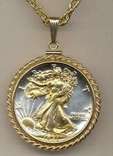 J&J JEWELRY 24k Gold on SilverWalking Liberty Necklace(1916-1947)/Rope Bezel
