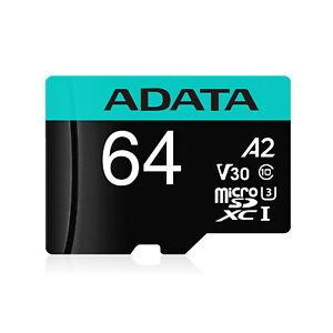 64GB AData Premier Pro microSDXC CL10 UHS-I U3 V30 A2 Memory Card w/SD Adapter