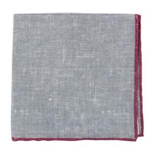 Finamore Napoli Gray Solid Linen Blend Pocket Square - x - (846)