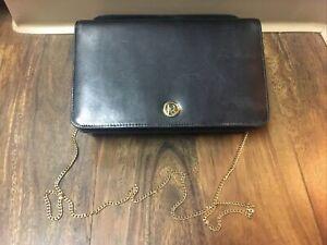 70s? Vtg Christian Dior Black Leather Bag Chain Shoulder France Clutch Purse