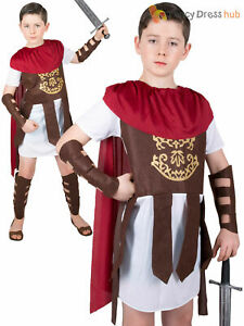 Boys Roman Soldier Costume Fancy Dress Kids Historical Nativity Gladiator Outfit