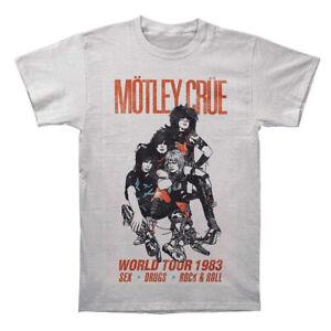 MOTLEY CRUE T-Shirt World Tour 1983 Silver Tee New Authentic S-2XL