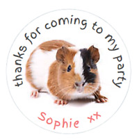 Personalised Party Bag Stickers Guinea Pig x 48 Sweet Bag Seals 40mm Labels