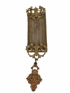 1890 Gold Tone Brooch Pin Filigree Victorian Design Art watch chain ribbon mesh