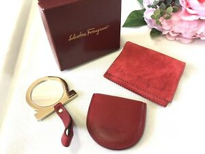 Authentic Salvatore Ferragamo Signature Gancini Red Mirror Leather Case With Box