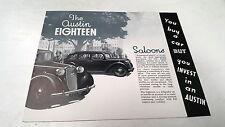 1938 AUSTIN EIGHTEEN 18   Orig Sales Brochure  Saloon Norfolk Windsor