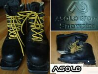 ASOLO snowpine leather telemark ski boots backcountry touring 3 pin 32 US men 14