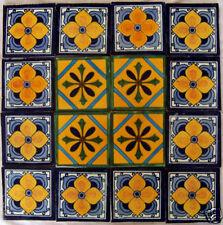 "W160 -16 Mexican Talavera Tiles Ceramic 4x4"" Folk Art"
