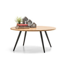 Retro Scandinavian Danish Design ROUND Coffee Table w Timber Top and Steel Legs