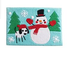 New St. Nicholas Square Snow Friends Bath Rug Snowman Christmas Blue