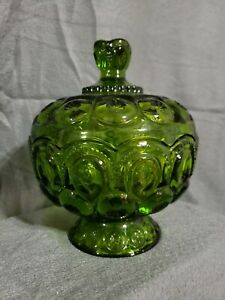 "Vintage L.E. Smith Dark Green Glass 7"" Inch Compote with Lid"
