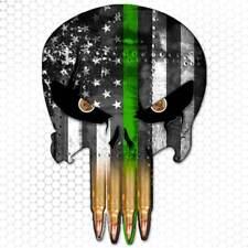 Green Line American Flag Punisher Skull Sticker Gun Bullet Decal Army Marines