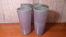 Soft Purple With Green Rim Hand-Blown Tumblers/ Glasses Set of 4