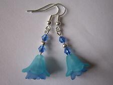 Long Drop / Dangle Earrings - Fuschia - Single Drop - Turquoise / Blue