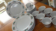 Holly Christmas Dinnerware Plates Cups and saucers Red Holly Berries 23pcs