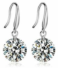 Caratcube 18K White Gold Plated Silver Crystal Solitaire Dangle Earrings(CTC-99)