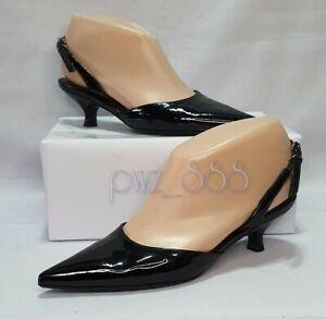 SALVATORE FERRAGAMO Black Patent Slingback Pumps Heels Size 4 1/2 UK