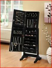 Mirrored Jewelry Armoire Cabinet Box Black Cheval Mirror Stand Up Storage Space