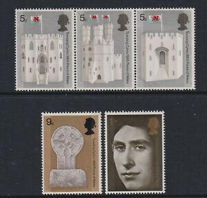 Great Britain/GB - 1969, Prince of Wales Investiture set (strip) - MNH -SG 802/6
