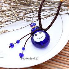 Murano Glass Small Blue smile oil ashes urn bottle cork pendant vial Necklace