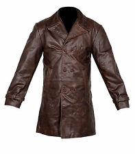 VINTAGE MEN LONG TRENCH COAT JACKET BROWN DISTRESSED COW HIDE REAL LEATHER