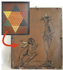 1940s Original Cowboy & Indian Ink Painting on Chinese Checker Board Western Vtg