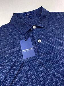 Peter Millar Crown Crafted Geometric Floral Print Performance Polo Blue Small
