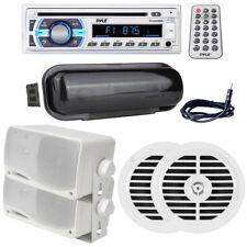 "Pyle USB Boat SD Bluetooth Radio, (2) 5.25"" & (2) 3.5"" Speakers, Antena, Cover"