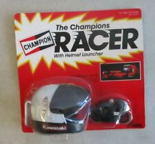 MOC 1982 BANDAI AMERICA THE CHAMPIONS RACER W/ WHITE HELMET LAUNCHER BLACK BIKE