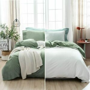 SOULFUL Sage Green 100% Washed Cotton Bedding King Size - 3 Pieces Luxury Soft C