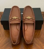 Womens Coach Crosby Driver Grainy Leather Loafers Saddle Brown Shoes Size 7.5 B
