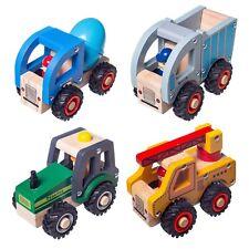 Eliiti Wooden Vehicles Toys Set for Boys Kids Crane Truck Concrete Mixer Tractor