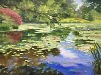 Seascape Water lilies Pond Original Oil Painting Impressionism Kaloustian Art