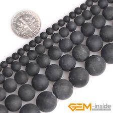 "Black Tourmaline Natural Frost Matte Gemstone Round Beads For Jewelry Making 15"""