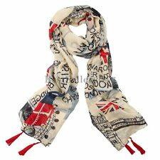 Women Union Jack British Flag Long Soft Shawl Scarf Wrap London Souvenir Gift