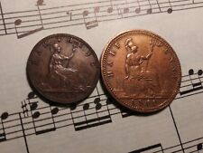 GREAT BRITAIN ¼ + ½ penny 1860 KM747.1+748.1 Br BEADED 1-year types RARE PAIR !