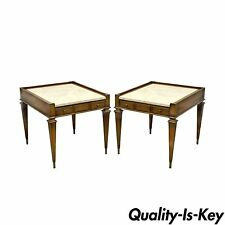 Pair of Vintage Weiman Hollywood Regency Marble Top Walnut End Side Tables